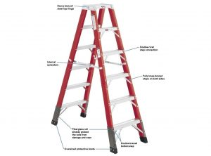Fiberglass Double-Sided Stepladder – 375 lbs. Duty Rating
