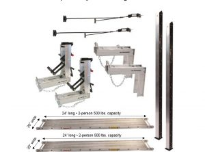 Pump Jack System – Package 2P-2 with (2) 20″W x 24'L Planks