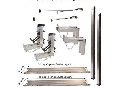 Pump Jack System – Package 3 with (1) 14″W x 24'L and (1) 20″W x 24'L Plank