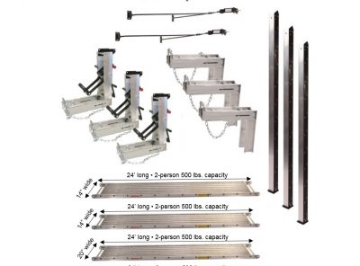 Pump Jack System – Package 3-3 with (2) 14″W x 24'L and (2) 20″W x 24'L Planks