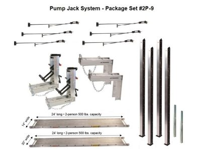 Pump Jack System – Package 2P-9 with (1) 14″W x 24'L and (1) 20″W x 24'L Plank