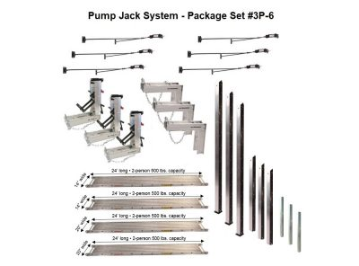 Pump Jack System – Package 3P-6 with (2) 14″W x 24'L and (2) 20″W x 24'L Planks