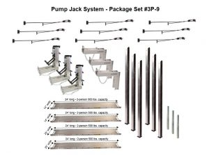 Pump Jack System – Package 3P-9 with (2) 14″W x 24'L and (2) 20″W x 24'L Planks